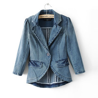 Trendy personality spring autumn fashionable vintage noble women's for female one button suit jacket elastic denim blazer NZY061