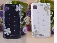 Free shipping Silver Flower Crystal Diamond Case For Samsung Galaxy S i9000 / I9001 GALAXY S Plus / Galaxy SL i9003