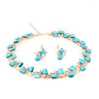 African Costume 18k Gold / Silver Plated Light Blue Resin Beads Necklace Sets Top Elegant Crystal Women Party Gift Jewelry Sets