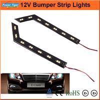 New 2014  2*14 LEDs SMD 5050 Flexible White LED Car Strips DRL Daytime Running Light 12V Fog Car Warning Lamp With Switch LA-578