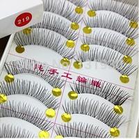 Free shipping 50 pairs false eyelashes hand made natural long fake eyelashes 5 boxes 10pairs/box 219# transparent plastic
