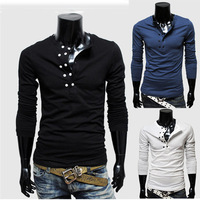 Free Shipping 2013 New Men's  T-Shirts,round collar slim male Double-breasted pure color long-sleeve  shirt