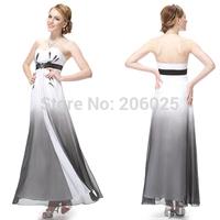 09512  Strapless Chiffon Hand Printed Rhinestones Evening Dress