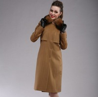 2013 winter new female Shiou Slim Long cashmere wool coat fox fur collar Free shipping By DHL/Fedex