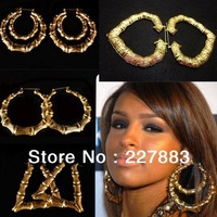 hot sale mix order Rihanna Basketball Wives Gold Tone Heart Bamboo Joint Hoop Earrings Jewelry ,Large hoop Earrings