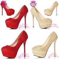 Free Shipping 2013 Wholesale New High Heel Women's Pumps Rhinestone Bridal Wedding Shoes WS-002