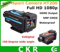 Free Shipping  FULL HD 1080P 30FPS 170 Degree camera with  DVR Sport Helmet Action Camera DVR Recorder HT200