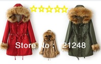 army green thick jacket women autumn winter 2013 cotton military outwear coat fleece lining long sleeve warm parka faux fur