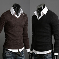 Male sweater autumn -summer autumn and winter fashion slim V-neck men's pullover sweater   yarn shirt sweater men