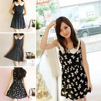 New Fashion Summer Casual Cotton Peter Pan Collar Short Dresses Women, Women's Pattern Dresses 4 Types YNE1352#M4