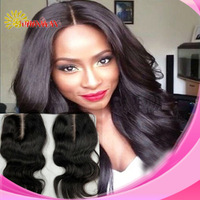 "2 part closure 5""*5"" deep middle part lace closure bleached knots body wave durable hair pieces"