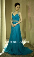 Blue Elegent Crystal Waistband Cut Out Side Split Open Halter Customized Part  Long  Evening Dress