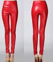 (Free shipping)New women's Fleece large size  leggings high quality PU leather pants high waist leggings Wholesale