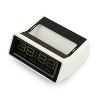 Night Light Digital LCD Mini Thermometer Calendar Date Alarm Clock with Week Date Display White