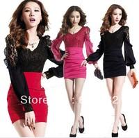 European Woman Lace Dress Long Sleeve Sexy Dress Slim Hip Nightclub Dress Wholesale CL252