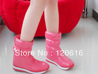 Rubber duck snow boots candy color japanned leather thickening snow boots 2013 medium-leg