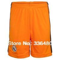 13/14 Real Madrid Third Orange Soccer Shorts,best quality Football Shorts+Embroidery Logo Short Pants