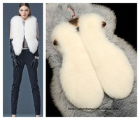 Free Shipping 2013 autumn winter luxury women's faux rabbit fox fur vest sleeveless fur jacket pure white elegant fur coat S M L