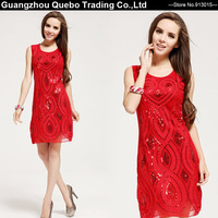 Women Chinese Festive Red Paillette Rope Flower Formal Tank Sequin dresses Elegant Sexy Party Club Dress Christmas Free shipping
