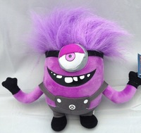 Free shipping despicable me movie plush toy purple minions toys7.5inch 2 pcs/lot minion stuffed toys  Christmas gift plush toys