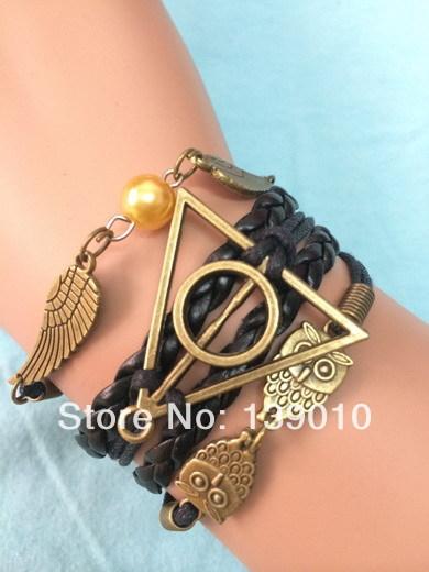 Free Shipping!6PCS/LOT!Woven Black Leather Wax Cord Retro Owl Harry Potter Wing Bead Charm Bracelet Fashion Men Jewelry U-364(China (Mainland))