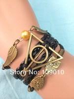 Free Shipping!6PCS/LOT!Woven Black Leather Wax Cord Retro Owl Harry Potter Wing Bead Charm Bracelet Fashion Men Jewelry U-364