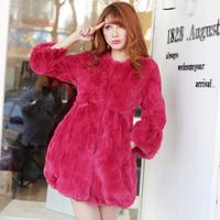 2014 new winter  women  slim waist rex rabbit hair o-neck medium-long fur coat overcoat Y2P1