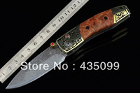 Damascus Collectible William Henry A12 Crystal + Carved Brass + Rosewood Handle Freeshipping