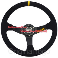 Free Shipping 350mm Sparco Steering Whele Deep Dish Car Steering Wheel Suede Leather Racing Steering Wheel