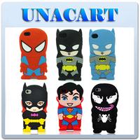 3D Cartoon Super Hero Batman Superman Batgirl Soft Silicone Rubber Case Cover Back Skin For Apple iPhone 4 4S 4G