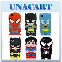 3D Cartoon Super Hero Batman Superman Batgirl Spiderman Soft Silicone Rubber Case Cover Back Skin For Apple iPhone 4 4S 4G