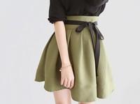 Elegant Retro Spring Autumn High Waist Pleated Skirt Basic Puff Skirt Bust Skirt With Belt Green Women Female Short  Skirt