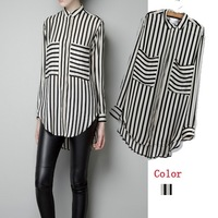 2013 new chiffon blouse shirts for women classic black and white  long sleeves camisas  plus size S M L free shipping