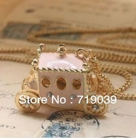 America and Europe pop,Little pink carriage pendant necklace,High quality accessories wholesale free shipping