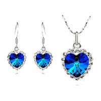 Fashion 18K white gold plated austrian crystal Heart of the sea women wedding necklace/earrings Jewelry Sets