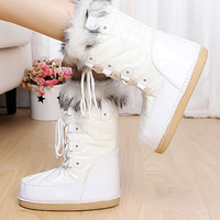 2014free shipping new fashion Moonboot boots  Patent leather  waterproof Mid-Calf  white Space Boots size 35-40women Warm winter