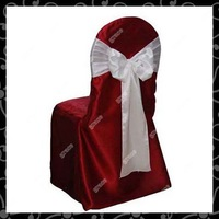 Free shipping wedding satin Chair Cover with satin sash