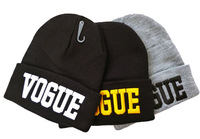 free shipping Fashion Hiphop 3 colors VOGUE Beanie hat 3D embroidery VOGUE wool winter knitted caps and hats unisex