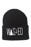 free shipping Fashion Hiphop Rum & Koke WASTED Beanie in Black Rum & Koke WASTED Beanie for Men