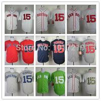 Wholesale Men's Baseball Jerseys Cheap Boston Red Sox #15 Dustin Pedroia Jerseys,Embroidery Logos