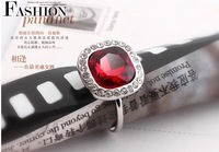2014 New Style Red Austrian Crystal Finger Ring,Fashion Women's Party Dress Shourouk Bijoux,Wholesale 2pcs 21%OFF,CR014
