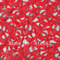 Recommending! red lace embroidery polyester crochet guipure lace fabric