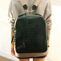 Free shipping 2014 women's crocodile pattern fashion packback preppy style cowhide backpacks vintage pu leather school bags