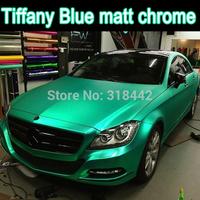 factory wholesale 1.52*20m matt chrome vinyl  with free shipping, tiffany blue chrome film