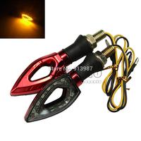 BJ-SL-010 Red housing 12 V Motorcycle Motorbike 12 SMD LEDs Turn Signal Led Light amber Bulb Indicator flasher