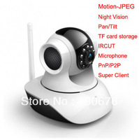 Wifi Wlan Motion-JPEG Nightvision Intercom Alarm Motion Detection TF Card Pan Tilt IPCAM for Home Security,Wireless Baby Monitor