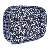 Crystal Evening Hard Clutch Case Handbag Lady 3D Stones Random Pattern Design Top Fashion 2014 Blue Black PU Unique - VC Mart