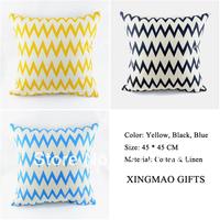 18*18 inch Home Decorative Ikea Vintage Yellow Black Blue Mixed Chevron Zig Zag Linen Throw Pillow Case Cushion Cover