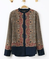 New Arrival Spring Autumn Fashion Ladies' Ethnic Style Retro Print Long-sleeved Casual Shirt Elegant Designer Stylish Top 846