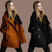 New arrivl 2014 fashion british style woolen overcoat plus size clothing casual fashion woolen outerwear
